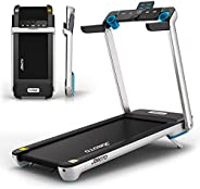 """Folding Treadmill with Auto Incline Electric Running Machine Treadmills for Home with LCD Monitor 20"""" Wid"""
