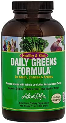 Aloe Life Healthy and Slim Daily Greens Formula, Increases Daily Vegetable Intake to Your Diet, Mix with Water 11 oz