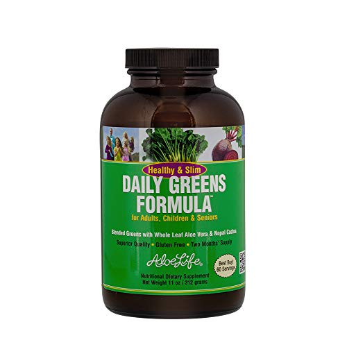 Aloe Life - Healthy and Slim Daily Greens Formula, Increases Daily Vegetable Intake to Your Diet, Mix with Water (11 oz) (Best Green Smoothie App)