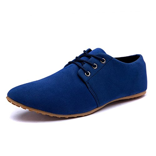 Suede Leather Lace up Oxford Shoes Blue US 7 (Lace Up Suede Oxfords)