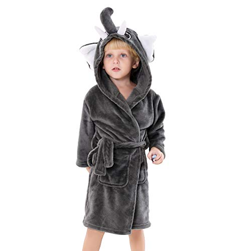Kids Plush Hooded Bathrobe - Elephant Flannel Fleece Robe for Boys (Elephant, 6-8)
