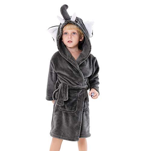 Kids Plush Hooded Bathrobe - Elephant Flannel Fleece Robe for Boys (Elephant, 6-8) ()