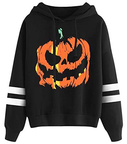 Halloween Skeleton Sweater (Halloween Hoodie Womens Pumpkin Funny Long Sleeve Pullover Top Striped Graphic Print Sweatshirt)