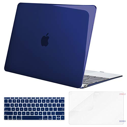 MOSISO Plastic Hard Shell Case & Keyboard Cover & Screen Protector Compatible MacBook 12 Inch Retina Display A1534 (Newest Version 2017/2016/2015), Crystal Navy Blue
