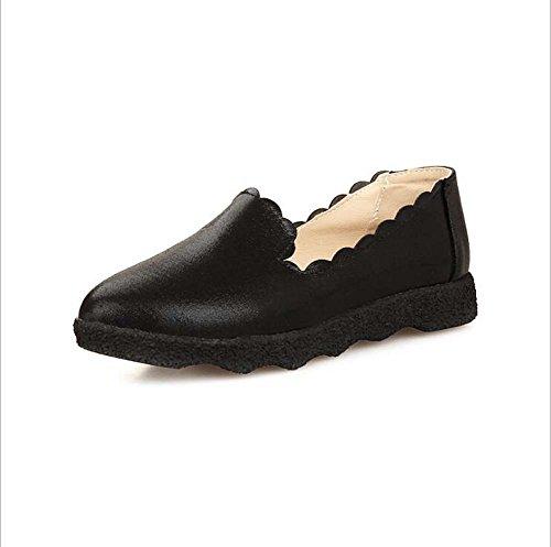 Zapatos de Mujer Zapatos de Madre Solos Cabeza Redonda de Mujer mueva Sobre el Ocio Pedales Antideslizantes Planos Respirables Zapatos de Mujer Perezosa (Color : Negro, Tamaño : 39)