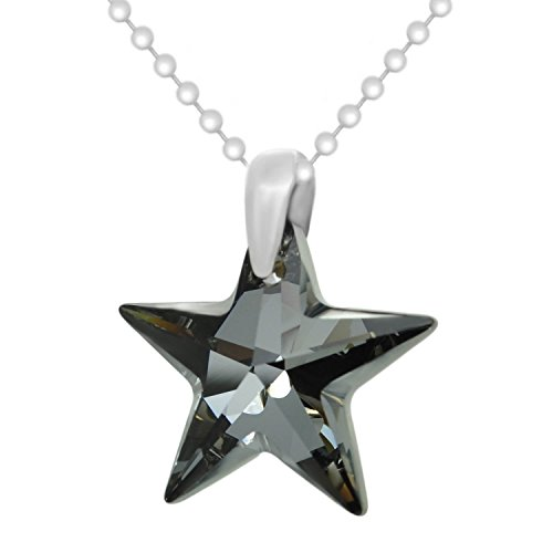 Sterling Silver 925 Made with Crystals from Swarovki Black Star Pendant Necklace, - Pendant Swarovski Crystal Black