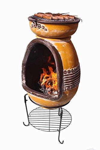 Chimenea portátil de madera y carbón con parrilla para barbacoa (materiales: arcilla, Color
