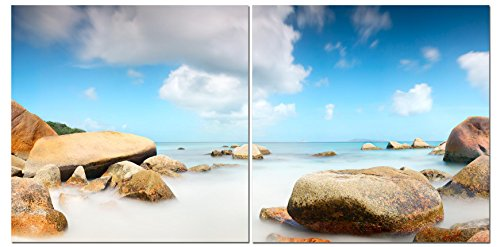 Canvas Wall Art Decor - 24x24 2 Piece Set (Total 24x48 inch) - Coastal Beach Stones Landscape - Decorative & Modern Multi Panel Split Canvas Prints for Dining & Living Room, Kitchen, Bedroom & Office (Coastal View Art Wall)