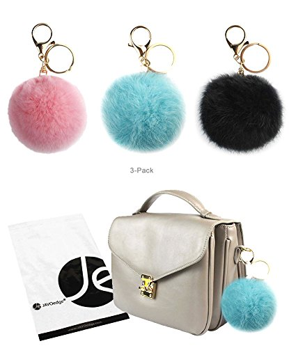JAVOedge (3 Pack) Pom Pom Fur (3.1 Inch) Style Ball Keychain with Gold Keyring (Light Blue, Light Pink, and Black) by JAVOedge