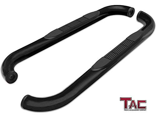 "TAC Side Steps Fit Chevy Silverado/GMC Sierra 1999-2018 1500 & 1999-2019 2500/3500 Regular Cab (Excl. C/K ""Classic"") (Body Mount) 3″ Black Side Bars Nerf Bars Step Rails Running Boards Off Road 2 Pcs"