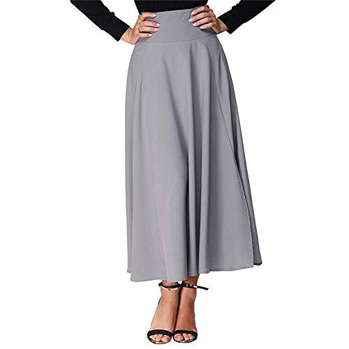 Yalatan Jupe plisse Taille Haute Robe Fendue Ceinture ceinture Jupes Longues Vintage avec Poches Gris
