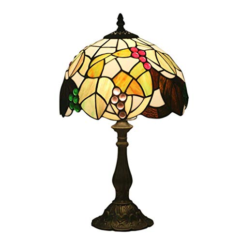 ChuanHan Tiffany Style Desk Lamp/Reading Light, 10-Inch European Style Antique Grape/Glass Decorative Table Lamp, Creative Table Lamp for Bar, Dining Room, Parlour, E27, Max40W, Zinc Alloy Base