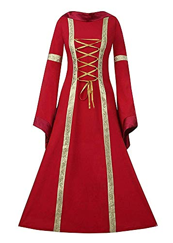NiuBia Womens Deluxe Medieval Renaissance Costumes Dress Victorian Irish Over Long Dress Cosplay Retro Gown]()