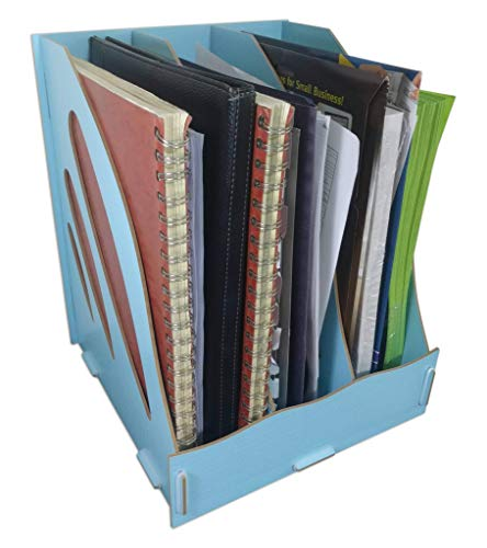 (C&K Solutions Binder Holder Desk Organizer Sturdy Wood Office File Folder Desktop Storage Light Blue )