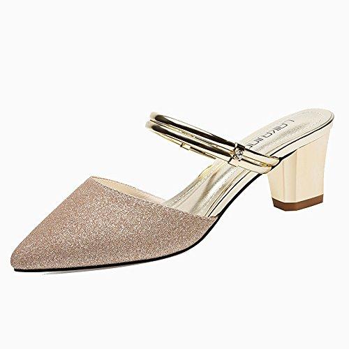 Fei Fei FEI Chanclas Un par de zapatos Dos usan sandalias de verano femenino Nueva moda usan zapatos de mujer coreano grueso con tacón alto Baotou medias de oro plata Antidérapant Dorado