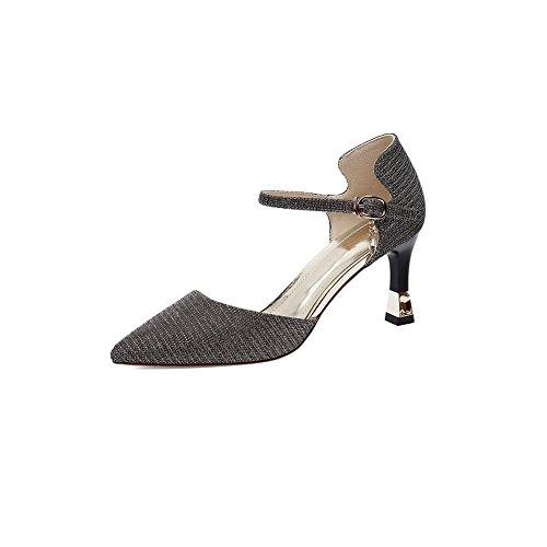 DALL Escarpins Ly-727 Mousseux Vamp Chaussures Pour Femmes Mince Talons Talons Hauts Sandales Printemps Et Été Haut 7.5cm (Couleur : Silver, taille : EU 36/UK 4/CN 36) Silver