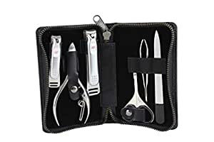 Seki Edge Craftsman Luxury Mens Grooming Kit (SS-3103) - 6 Piece Premium Manicure & Pedicure Nail Kit with Nail Clippers, Nail Nipper, Nose Scissors, Nail File, & Tweezers in Travel Case