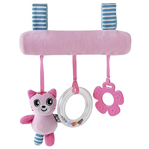 Dreamfly Baby Hanging Car Seat Toys Infant Plush Stroller Toys 3 Crossbar Hanging Toys Crinkle Squeaky Learning Toys with Wind Chime BB-Device Teether (Cat)