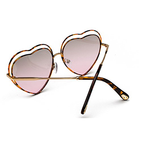 Lens Colored Leopardo de Men de Sunglasses women Polvo eyewear Heart Grano Templos de Gradient marco de metal Yefree Fqpvw8S