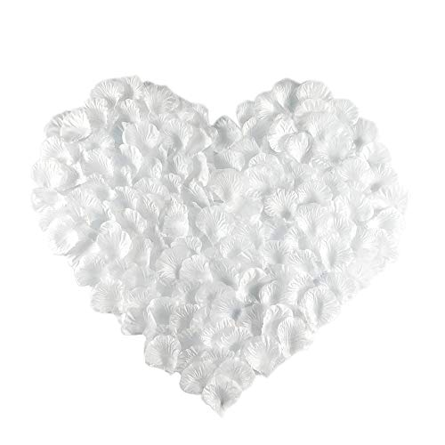 (MayaRed 2000 PCS 22 Colors Silk Rose Petals Wedding Flower Decoration (white))