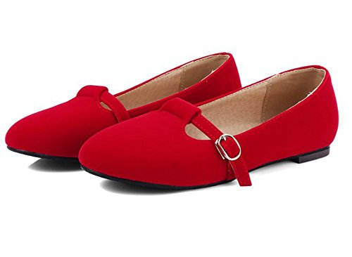 Sfnld Donna Dolce Fibbia Punta Tonda Mary Jane Low Cut Slip On Flats Pumps Shoes Red