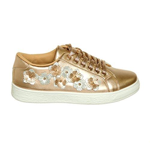 Shoewhatever Ny Ankomst !! Kvinna Grafisk Formgivare Spets-up / Slip-on Mode Sneaker Rosegoldpu