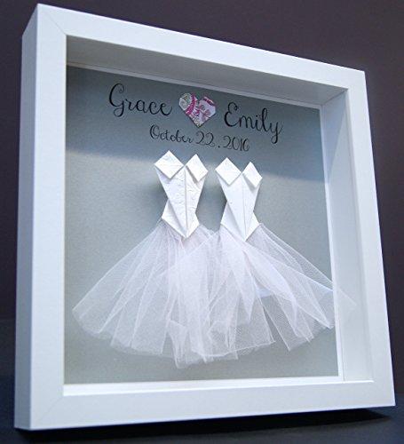 Personalized Gay Same Sex LGBT Wedding Gift, Marriage, Engagement, First Anniversary Paper Origami Bride & Bride Shadowbox Frame Custom Wall - Canada Frames Custom