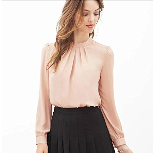 7afae4a8 Hemlock Office Chiffon Shirts Women Long Sleeves Tops Shirts O-Neck Spring  Blouse (S, Pink) 60%OFF