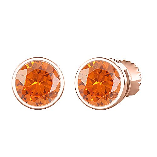 tusakha Bezel Set Round Cut Created Orange Sapphire (4MM) Solitaire Stud Earrings 14K Rose Gold Over .925 Sterling Silver For Women