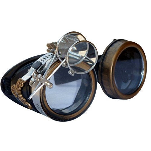 Steampunk GogGLes VicTORian Novelty Glasses cosplay Antique filigree S4 (Clear lens 1x)