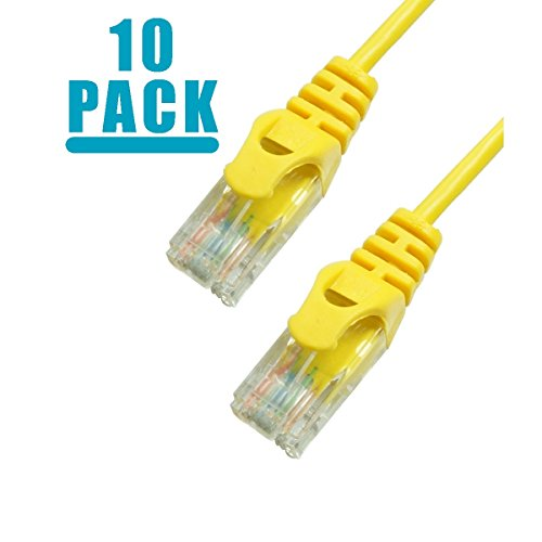 Grandmax 10 PACK - SLIM CAT6 7 Foot RJ45, 550MHz, UTP Ethernet Network Patch Cable Snagless/ Molded Ferrari Boot/ YELLOW