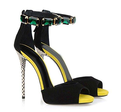 Peep Ballo Anno Toe Signore Sandali Caviglia Le Sexy Stiletto Nero Sera Tacchi Cinghietti Donna Scarpe Festa Alto Nvxie Di Fine wTqY6n