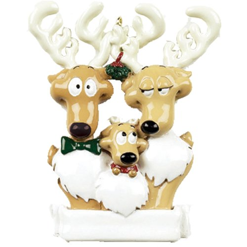 Personalized Reindeer Family of 3 Christmas Tree Ornament 2019 - Cute Parent Child Under Mistletoe Ribbon Tradition Gift Year Hug Gift Kid Deer Rudolph Nose - Free Customization (Three)