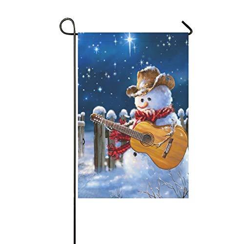 Western Snowman - Feddiy Garden Flag Western Christmas Snowman Play The Guitar House Flag Decoration Double Sided Flag 12 x 18 inch