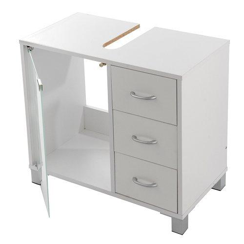Limal Waschtischunterschrank mit 3 Schubladen Holz weiß, 30 x 60 x 56 cm ,  Glastür Teilrückwand , Aussparung für Siphon