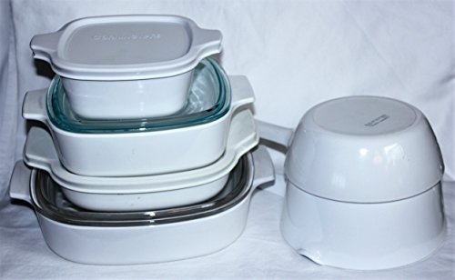 Vintage Corning Ware White Skillet Saucepan Casserole Baking Dishes, 10 Piece Set (Casserole Corelle Ceramic)