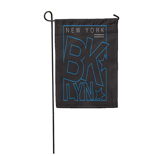 Semtomn Garden Flag 28x40 Inches Print On Two Side Polyester Blue Varsity New York Brooklyn Graphics City Tee America Apparels Home Yard Farm Fade Resistant Outdoor House Decor Flag