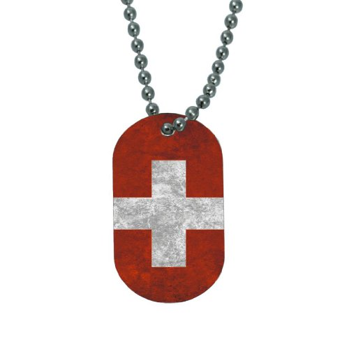 Swiss Tag - Swiss Flag - Dog Tag Necklace