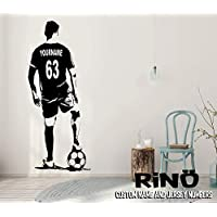 Soccer Wall Art - Custom Name Football Decal - Soccer football player Wall decor - silhouette vinyl sticker - Choose Name and Jersey Numbers