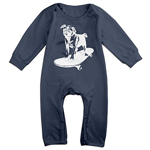 Baby Infant Romper Skateboard Pug Puppy Dog Long Sleeve Jumpsuit Costume Navy 24 Months