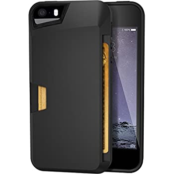 iPhone 5/S/SE Wallet Case - Vault Slim Wallet for iPhone 5/5S/SE by Silk - Protective Card Cover (Midnight Black)