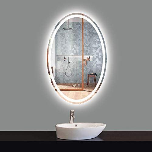 TokeShimi LED Oval Mirror 24 x 36 Inch Bathroom Vanity Mirror Large Dimmable Lighted Makeup Vanity Mirror Anti-Fog Wall Mounted Bath Mirror