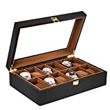 Baskiss 12 Slots Watch Box for Men, Solid Wood Watch Display Storage Case Jewelry Organizer with Clear Top