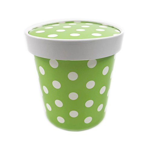 Black Cat Avenue 16 oz Pint Size Disposable Polka Dots Paper Ice Cream Containers, 15 Count, - Cat Polka