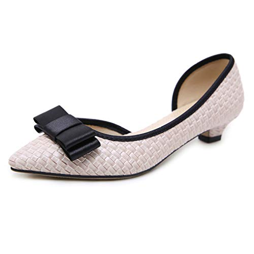 - Bokun Women Flat Shoes Pointed Toe with Butterfly Knot Shallow Pumps Fashion Non-Slip Low Heel OL Footwear