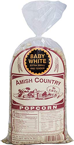 Amish Country Popcorn - Baby White- Small & Tender Popcorn with Recipe Guide - 1 Year Freshness Guarantee (1 Lb Bag) ()