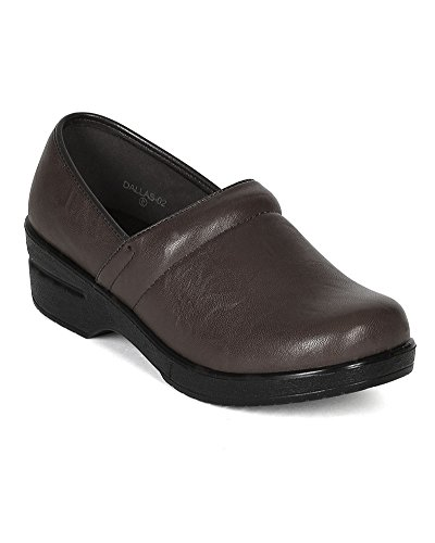 Refresh Women Leatherette Round Toe Slip On Clog BH36 - Brown (Size: 8.5) by Refresh (Image #5)'