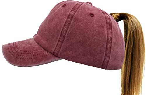 UTALY Ponytail Baseball Hat Distressed Retro Washed Cotton Twill