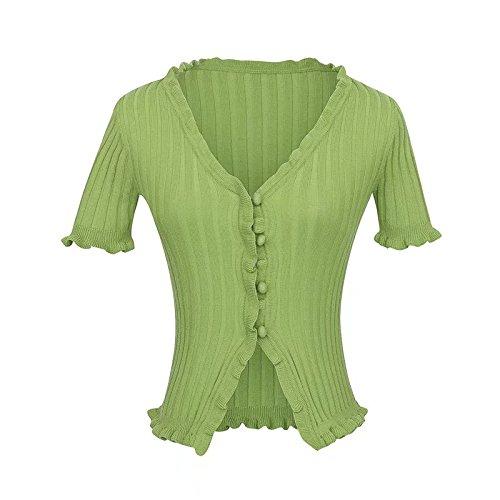Gold Happy Women Knitted Short Ruffles Sleeve Shirt Crop Top Unif Sexy Street Wear White Femme Short Sleeve funny T Shirt Summer