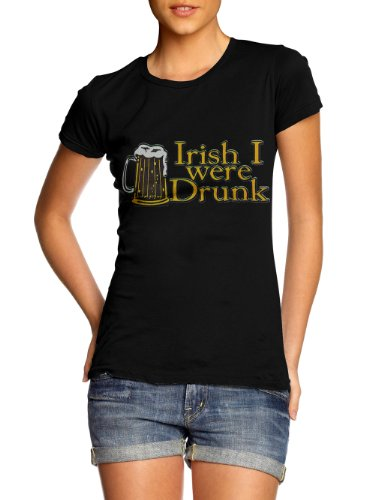 IRISH I WERE DRUNK BEER MUG FUNNY T-SHIRT 3 L Black Girly (Girly Lady Mug)